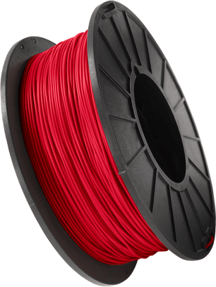 Spool of red 3D printing filament
