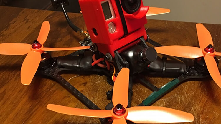 3D printed parts and camera protector on a drone