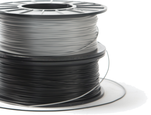NinjaTek 3D printer filament spools in a stack